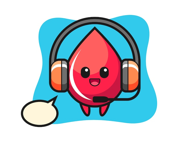 Cartoon mascotte van bloeddruppel als klantenservice, schattige stijl, sticker, logo-element