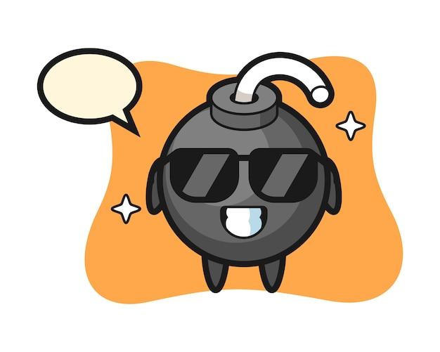 Cartoon mascotte van bom met cool gebaar