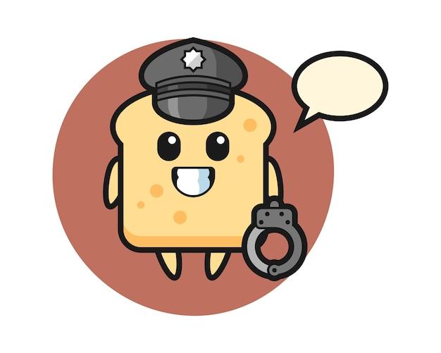 Cartoon mascotte van brood als politie