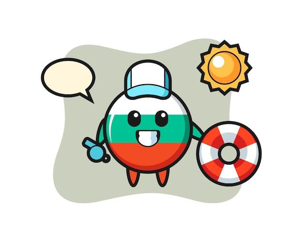 Cartoon mascotte van bulgarije vlag badge als strandwacht, schattig stijlontwerp voor t-shirt, sticker, logo-element