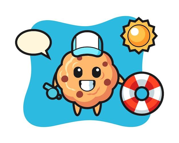Cartoon mascotte van chocolate chip cookie als strandwachter
