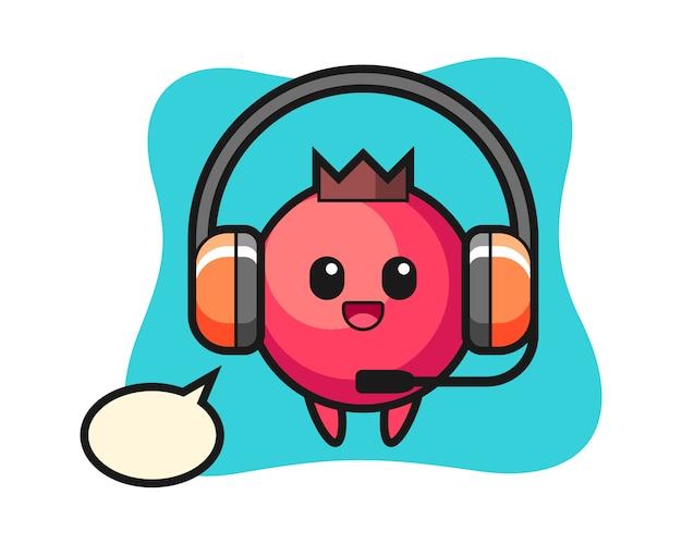 Cartoon mascotte van cranberry als klantenservice, schattige stijl, sticker, logo-element
