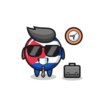 Cartoon mascotte van cuba vlag badge als zakenman, schattig stijlontwerp voor t-shirt, sticker, logo-element