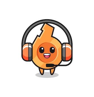 Cartoon mascotte van fluitje als klantenservice, schattig ontwerp