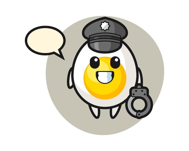 Cartoon mascotte van gekookt ei als politie