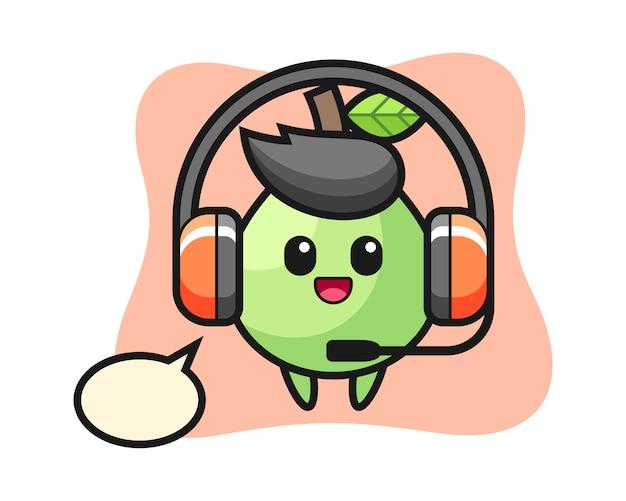 Cartoon mascotte van guave als klantenservice, leuke stijl voor t-shirt, sticker, logo-element