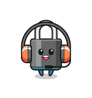 Cartoon mascotte van hangslot als klantenservice, schattig stijlontwerp voor t-shirt, sticker, logo-element
