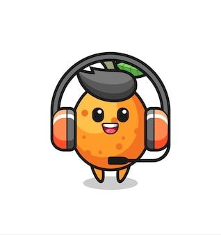 Cartoon mascotte van kumquat als klantenservice, schattig stijlontwerp voor t-shirt, sticker, logo-element