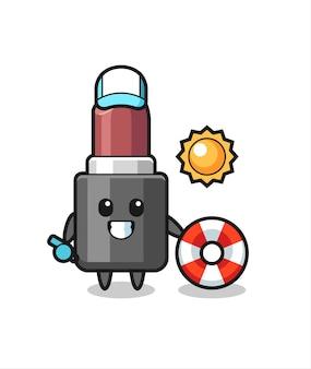 Cartoon mascotte van lippenstift als strandwacht, schattig stijlontwerp voor t-shirt, sticker, logo-element