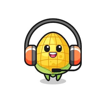 Cartoon mascotte van maïs als klantenservice, schattig stijlontwerp voor t-shirt, sticker, logo-element