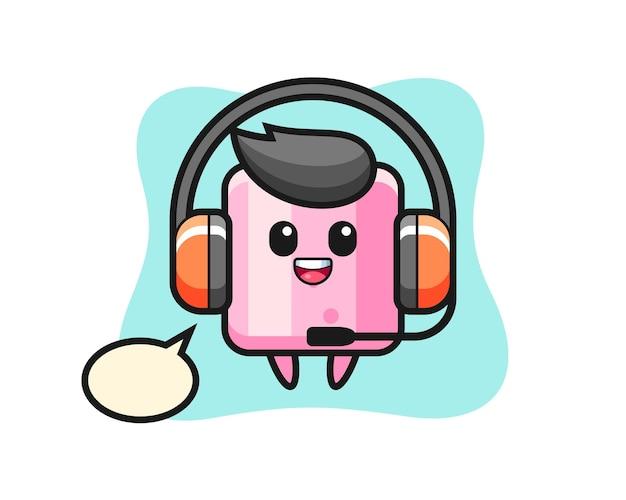 Cartoon mascotte van marshmallow als klantenservice, schattig stijlontwerp voor t-shirt, sticker, logo-element