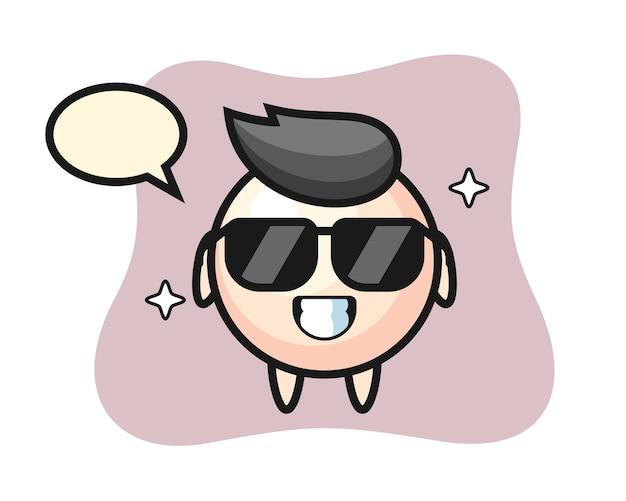 Cartoon mascotte van parel met cool gebaar