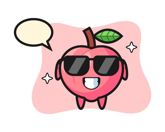 Cartoon mascotte van perzik met cool gebaar, schattig stijlontwerp voor t-shirt