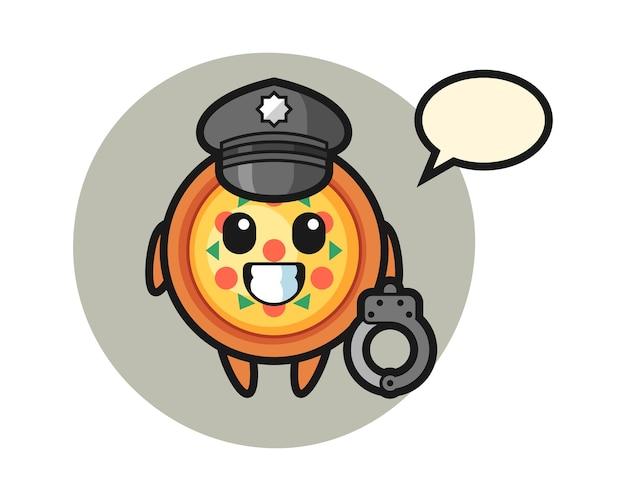 Cartoon mascotte van pizza als politie