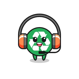 Cartoon mascotte van recycling als klantenservice, schattig ontwerp