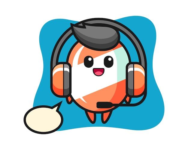 Cartoon mascotte van snoep als klantenservice