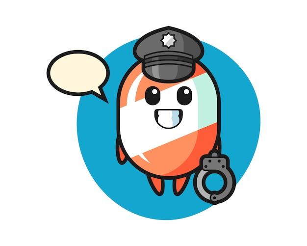 Cartoon mascotte van snoep als politie