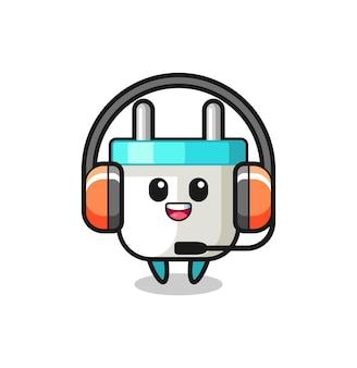 Cartoon mascotte van stekker als klantenservice