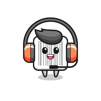 Cartoon mascotte van streepjescode als klantenservice, schattig ontwerp