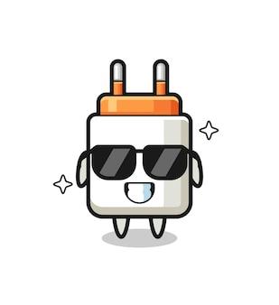 Cartoon mascotte van stroomadapter met cool gebaar, schattig ontwerp