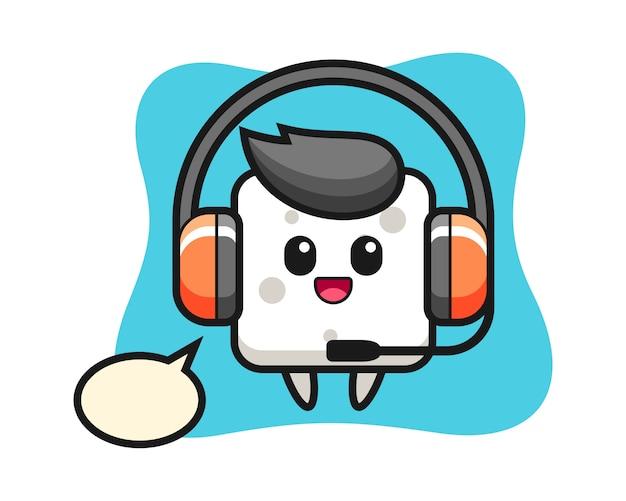 Cartoon mascotte van suikerklontje als klantenservice, leuke stijl voor t-shirt, sticker, logo-element