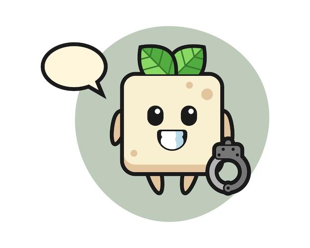 Cartoon mascotte van tofu als politie, schattig stijlontwerp voor t-shirt