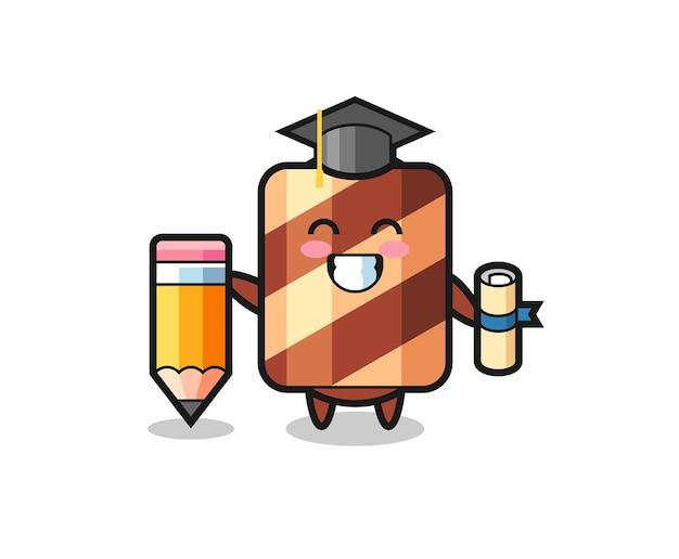 Cartoon mascotte van wafer roll met cool gebaar, schattig stijlontwerp voor t-shirt, sticker, logo-element