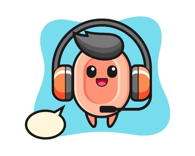Cartoon mascotte van zeep als klantenservice, leuke stijl voor t-shirt, sticker, logo-element
