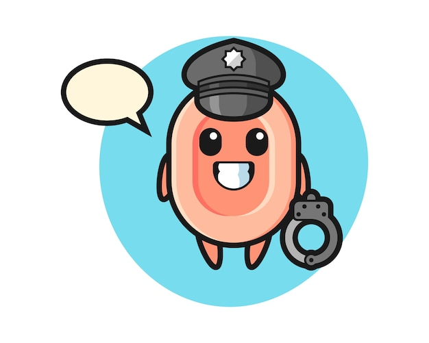 Cartoon mascotte van zeep als politie, leuke stijl voor t-shirt, sticker, logo-element