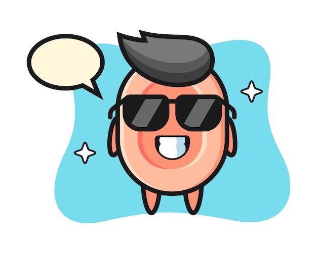 Cartoon mascotte van zeep met cool gebaar, leuke stijl voor t-shirt, sticker, logo-element