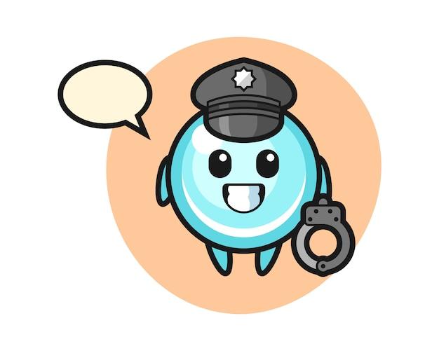 Cartoon mascotte van zeepbel als politie, schattig stijlontwerp