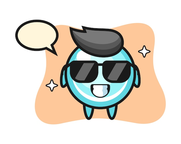 Cartoon mascotte van zeepbel met cool gebaar, schattig stijlontwerp