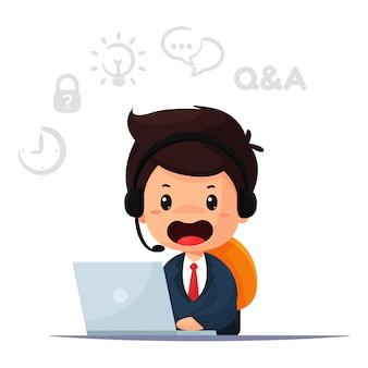 Cartoon medewerker en operator is verantwoordelijk voor het contacteren van klanten en het geven van advies.