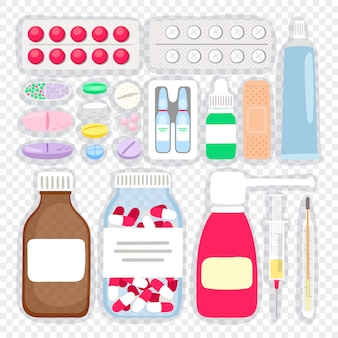 Cartoon medicijnen en pillen