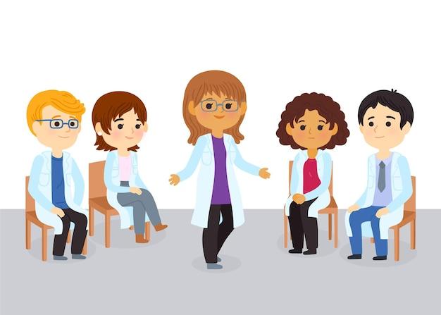 Cartoon medische conferentie met verschillende artsen