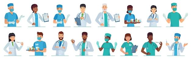 Cartoon medische hulpverleners. mannelijke en vrouwelijke artsen tekens illustratie set.