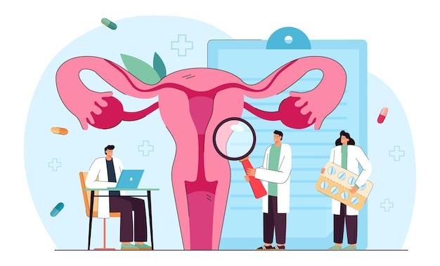 Cartoon medische professionals die de baarmoeder onderzoeken