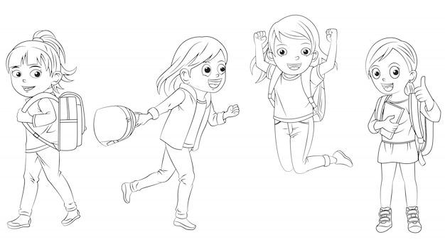 Cartoon meisje collectie ga naar school voor kleurboek