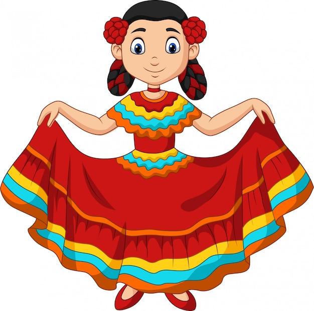 Cartoon meisje dansen, cinco de mayo viering