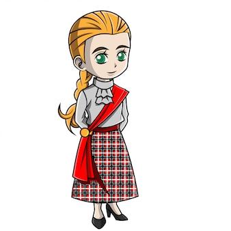 Cartoon meisje dat schots kostuum draagt