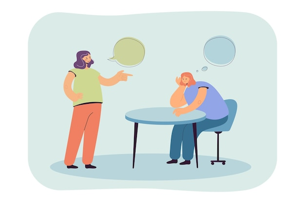 Cartoon meisje denken tijdens een gesprek met een vriend of collega
