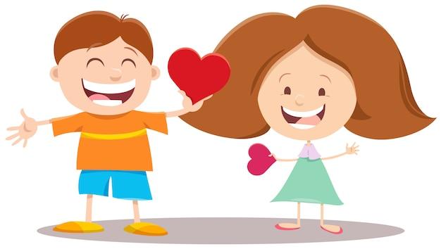 Cartoon meisje en jongen paar