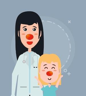Cartoon meisje en vrouw arts met rode neuzen