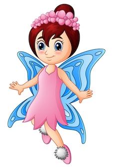 Cartoon meisje fairy vlinder