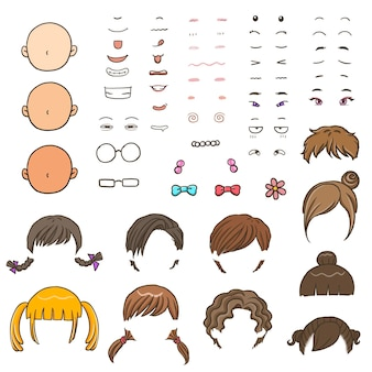 Cartoon meisje gezicht jongen gezicht kapsel ogen mond haarkleur emotie schattig karakter cartoon