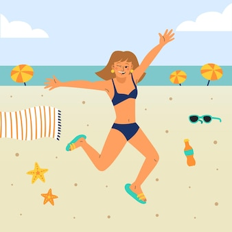 Cartoon meisje in bikini set illustratie