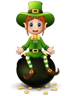 Cartoon meisje kabouter zittend op een pot met goud