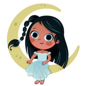 Cartoon meisje karakter zittend op de maan vector illustratie