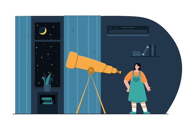 Cartoon meisje kijkt 's nachts door de telescoop in de kamer