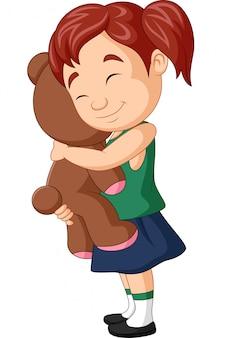 Cartoon meisje knuffelen teddybeer